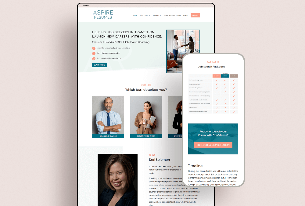 Branding and Website Design for Aspire Resumes